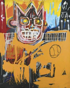 JEAN-MICHEL BASQUIAT (1960 - 1988), ORANGE SPORTS FIGURE acrylic, oil stick and spray paint on canvas, 152.4 by 121.9cm (60 by 48in), Executed in 1982. Courtesy of Sotheby's.