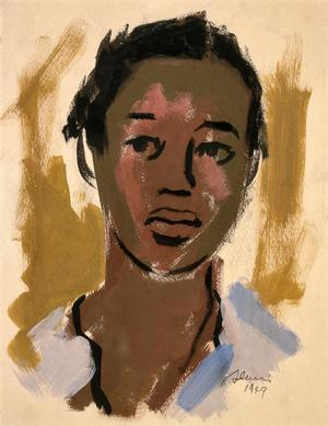 "Samella Lewis Field Hand (Girl), 1949 watercolor on paper, 11 1/2 x 9 ½"" signed & dated lower right: S Lewis 1949 Collection of Nancy Silverton, Los Angeles, California. © Samella Lewis, courtesy Louis Stern Fine Arts. Photo: Gerard Vuilleumier"