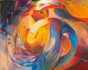 "Doris Kennedy Tethered Spin, oil on canvas, 48 x 60"" 2011"