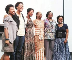 The Conference Organizers: L-R: Vanity Gee, Romare Bearden Fellow (2012-13); Sherri Williams (Romare Bearden Fellow (2009-10); Jennifer Doyle (2005-6); Renee Franklin; Rochelle Caruthers (Romare Bearden Fellow (2011-12); and Ellene Stampley-Whiley (Romare Bearden Fellow 2004-5). Photo Bridget Cooks.