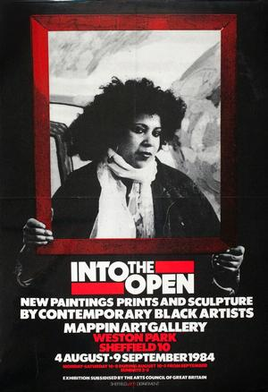 Into the Open poster, 1984, based on a portrait photo of Houria Niati.  Mappin Art Gallery  ©Museums Sheffield