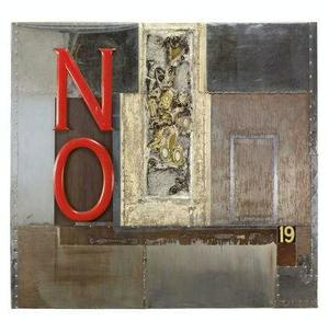 John Outterbridge, No Time for Jivin', from the from the Containment Series, 1969, Mixed media. 56 x 60 in. (142.2 x 152.4 cm). Mills College Art Museum Collection, Purchased with funds from the Susan L. Mills Fund. Photo courtesy Tilton Gallery, NYC