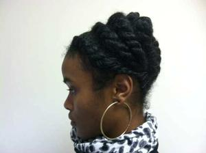 Side view of Marlisa's twisted up-do