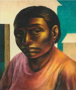 John Woodrow Wilson, Negro Woman, 1952, oil on masonite, 21 ½ x 18 inches, Atlanta University, Purchase Award, Best Portrait or Figure, 1955, Art © John Wilson/Licensed by VAGA, New York, NY. Collection and courtesy of the Clark Atlanta University Art Collection