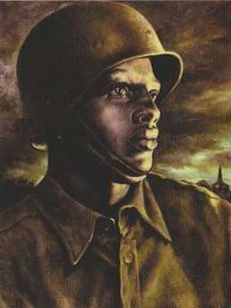 Mark Hewitt, Spirit of the 366th, oil on canvas, 23 5/8 x 18 5/8 inches, Second Atlanta University Purchase Award, Oils, 1943. Collection and courtesy of the Clark Atlanta University Art Collection