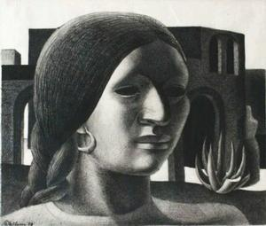 John Wilson, Mexican Woman (1950), lithographic crayon on paper, 9.5 x 11.5 inches, Courtesy Martha Richardson Fine Art Gallery