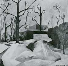 Gwendolyn Bennett.  Winter Landscape, 1936, oil. Reproduced from Alain Locke's The Negro in Art (Associates in Negro Folk Education, 1940). Location of the actual painting is unknown.