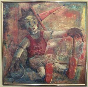 John Farrar, Ola's Doll, 1962, oil on masonite, 34x32. Collection of S. Goree and A. McCoy
