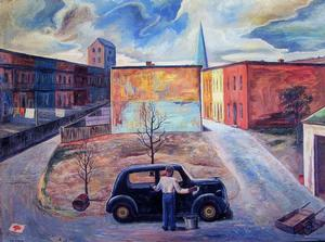 John Farrar, Car Wash, 1962, oil on masonite. 18x24, Collection of S. Goree and A. McCoy