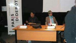 Black Bodies:Live & Uncensored panel (r-l): photographer Daniele Tamagni, artist Carrie Mae Weems. Photo: Laurence Choko.