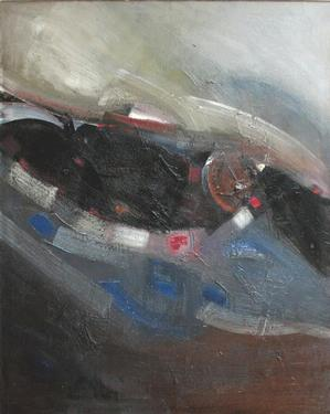 "Merton D. Simpson, Sky Story 2, 1963, oil on canvas, 50 x 40"" William C. Robinson Family Collection.Photo courtesy: Merton Simpson Gallery"