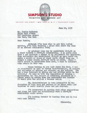 1959 letter from Simpson to Jackie Robinson about an African scholarship fund. Collection of Merton Simpson Gallery