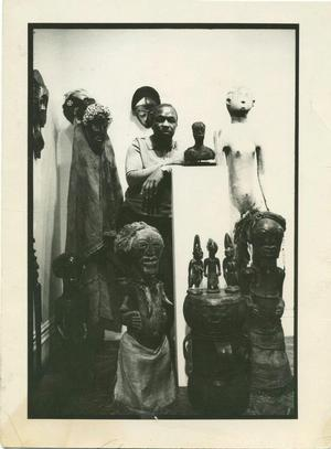 Simpson with African art collection. Photo collection of Merton Simpson Gallery