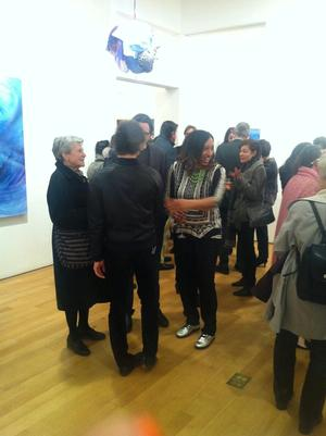 Shinique Smith at exhibition opening. Photo courtesy James Cohan Gallery.