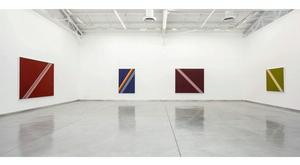 Installation view, Sam Gilliam: Hard-Edge Paintings 1963-1966.  Courtesy Kordansky Gallery