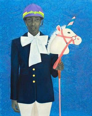Amy Sherald, It Made Sense... Mostly In Her Mind, 2011, oil on canvas, 54x43. Courtesy of Galerie Myrtis.