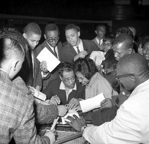 Reuben Burrell, Duke Ellington with Hampton Institute students, c. late 1950s-early 1960s.