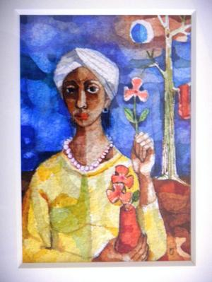 Woman with Flower, 1960, mixed media on paper, Collection of Donnell Walker.