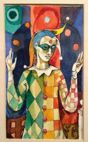 Untitled (Harlequin), nd, watercolor.  Dr. Roderick Pugh Collection, Fisk University Galleries.