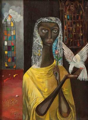 Our Lady of Peace, nd, oil on canvas, 11 5/8 x 8 1/2. Courtesy of Clark Atlanta University Galleries.