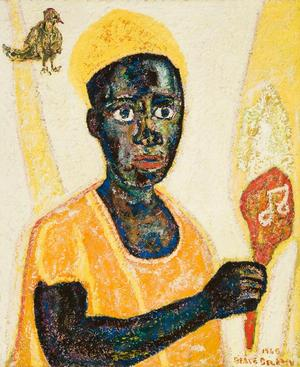"Beauford Delaney, Portrait of Charlie Parker, 1968, oil on canvas, 28 ¾ x 23 ½. "" Courtesy of Michael Rosenfeld Gallery, New York"