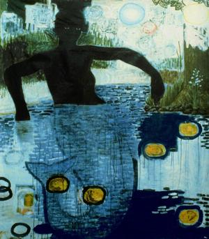 "Kerry James Marshall, Blue Water Silver Moon, 1991, acrylic and collage on linen, 63 x 55."" Collection of JoAnn Busuttil, Los Angeles. Image courtesy of the artist and Jack Shainman Gallery, New York"