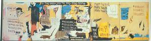 "Jean-Michel Basquiat, Undiscovered Genius of the Mississippi Delta, 1983, acrylic, oil on paintstick & paper collage on canvas, five panels, 48 x 184."" The Brant Foundation Inc., Greenwich, CN, 2012 The Estate of Jean-Michel Basquiat/ ADAGP, Paris/Artists Rights Society, New York"