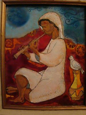 Female Flute Player, enamel, 1978, 10x81/2, Collection of Jan and Sylvia Peters.