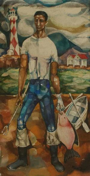 The Fisherman, watercolor on paper, 1950, 20x10 1/2, Courtesy of Aaron Galleries, Chicago