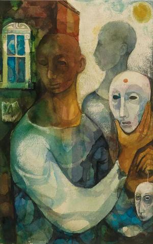 Untitled (Actor Holding a Mask), watercolor, c. 1960. Sold October 18, 2012 for $2,160. Courtesy of Swann Auction Galleries.