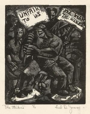 The Strikers, wood engraving, c. 1937-40. Sold October 7, 2010 for $1,920. Courtesy of Swann Auction Galleries.