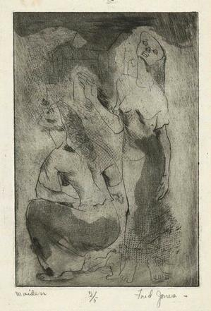 Maiden, etching, drypoint and aquatint, c. 1940. Sold February 17, 2011 for $720. Courtesy of Swann Auction Galleries.