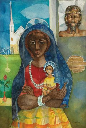 Mother and Child, watercolor with pen and ink, 1940-45. Sold October 7, 2010 for $4,320. Courtesy of Swann Auction Galleries.