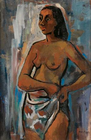 Untitled (Standing Female Nude), oil on canvas, c. 1955-60. Sold February 23, 2010 for $4,320. Courtesy of Swann Auction Galleries.