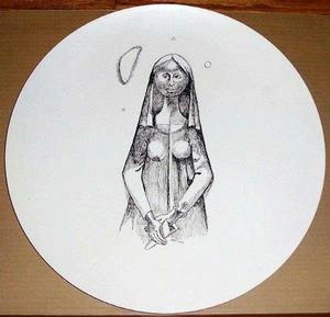 Madonna with Flowers, 1950s ink drawing on 15 in. metal saucer, collection of Donnell Walker