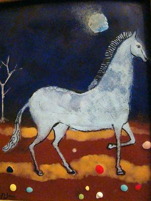 Horse, enamel on copper, 1970, 5x4, Collection of Jan and Sylvia Peters