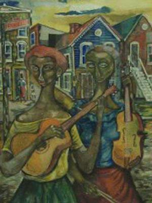 Untitled (Two Women with Guitars), watercolor, 1954, 13 1/4 x 9 1/2, Courtesy of Kenkeleba Gallery, New York.