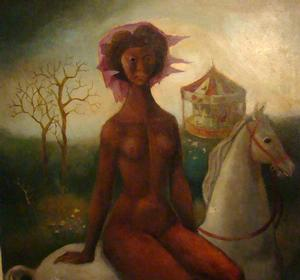 Black Lady Godiva, 1982, acrylic on board, 30 x 34.  Collection of Jan and Sylvia Peters.