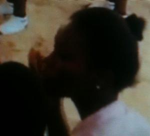 Young Senegalese girl at dance performance for Mrs. Obama.  Traditional African hair artistry is in decline. Photo from video posted by Michelle Obama.