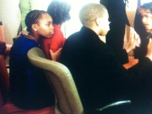 First Niece Leslie Robinson wore a special hair style on election night, 2008. She is shown here with her brother, Avery, and Sasha Obama. Photo posted by Obama campaign.