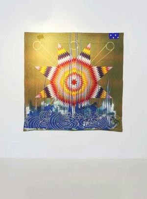 Sanford Biggers, Quilt #30, Nimbus, 2013, Fabric Treated Acrylic, Spray Paint, Cotton On Repurposed Quilt, 78h x 78w in