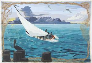 Kerry James Marshall, Gulf Stream, 2003, acrylic, glitter on canvas, 108 x 156 in. Collection of Walker Art Center, Minneapolis, T.B. Walker Acquisition Fund, 2004.