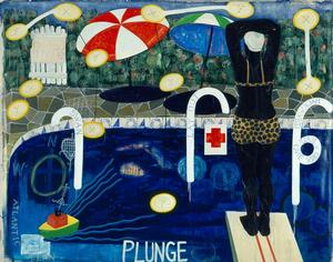 Kerry James Marshall, Plunge, 1992, acrylic and collage on canvas, 87 x 109 in. Collection of Geri and Mason Haupt