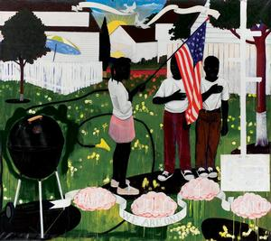 Kerry James Marshall, Bang, 1994, acrylic and collage on canvas, 103 x 114 in, Courtesy of The Progressive Corporation, Mayfield Village, Ohio