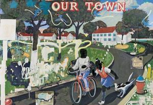 Kerry James Marshall, Our Town, 1995, acrylic and collage on canvas, 100 x 124 in. Crystal Bridges Museum of American Art, Bentonville, Arkansas, Photography by Vancouver Art Gallery