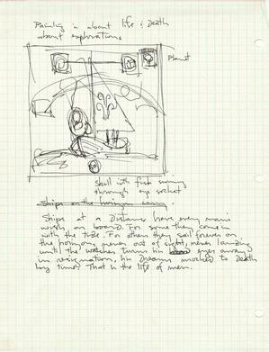 Kerry James Marshall, Sketch for Voyager, c.1992, pen and ink on graph paper, 11 x 8 1/2 in. Courtesy of the artist, Jack Shainman Gallery, NY, and Koplin Del Rio, CA
