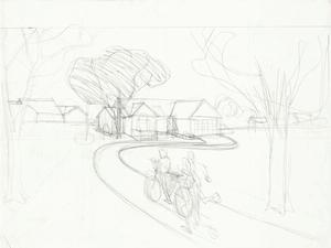 Kerry James Marshall, Study for Our Town, c.1995, graphite on paper, 18 x 24 in. Courtesy of the artist, Jack Shainman Gallery, NY, and Koplin Del Rio, CA