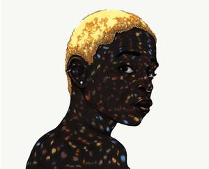 Toyin Odutola, All These Garlands Prove Nothing VI, 2012, pen ink and marker on paper, 14x17 in.  Courtesy of the artist and Jack Shainman Gallery, New York.