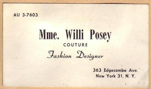 Mme Willi Posey business card. Faith Ringgold Collection