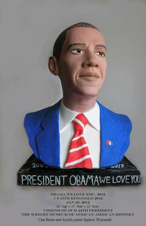 Barack Obama bust. ©Faith Ringgold